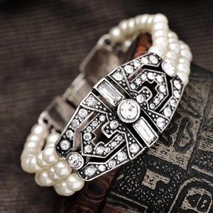 ART DECO Silver Crystal Rhinestone Pearl Bracelet